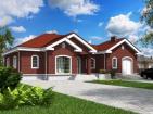Одноэтажный жилой дом с террасами и гаражом