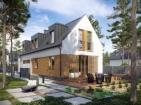Проект современного узкого дома с гаражом и мансардой