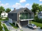 Проект современного большого дома с гаражом и мансардой